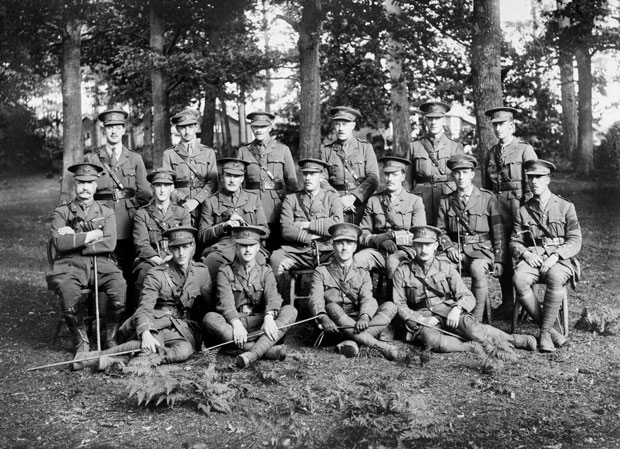 Wilfred-Owen-(Officers-of-the-5th-(Reserve)-Battalion,-Manchester-Regiment-at-Milford-Camp,-Witley_--Second-Lieutenant-Wilfred-Owen-is-in-the-front-row,-second-from-right)